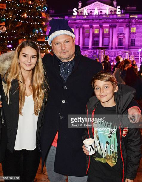 Juergen Teller and children Lola and Ed attend the opening party of Skate at Somerset House with Fortnum Mason at Somerset House on November 10 2014...