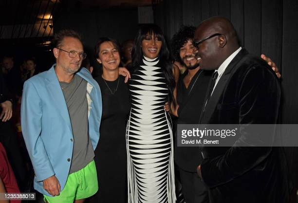 Juergen Teller, Dovile Drizyte, Naomi Campbell, Rafael Pavarotti and Editor-In-Chief of British Vogue Edward Enninful attend an intimate dinner and...