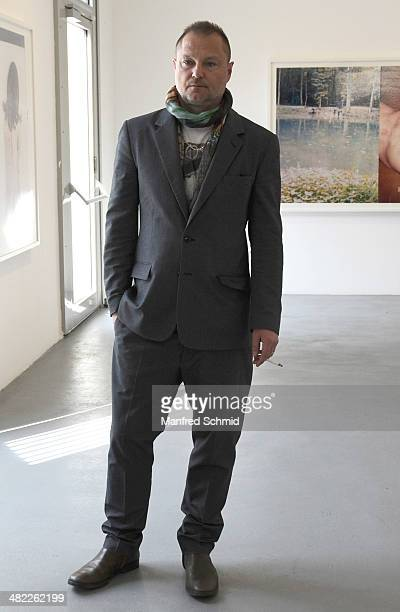 Juergen Teller poses for a photograph during the 'Araki Teller Teller Araki' Exhibition preview at the Ostlicht gallery on April 3 2014 in Vienna...