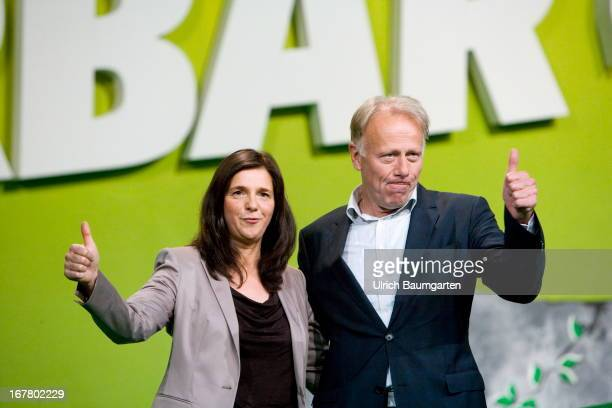 Juergen Trittin and Katrin GoeringEckardt Leading Candidates for the Federal Elelection 2013 during the German Greens Party party congress on April...