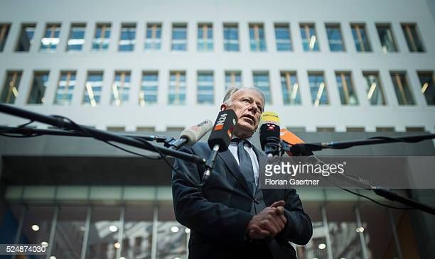 Juergen Trittin chairman of KFK speaks to the media after a press conference of the 'Commission for review the financing of the nuclear phaseout' on...