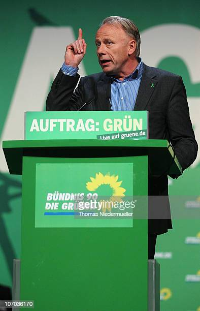 Juergen Trittin chairman of the Greensfraction in the Bundestag speaks at the Greens Party national convention on November 20 2010 in Freiburg...