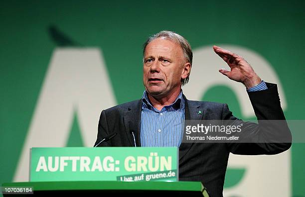 Juergen Trittin, chairman of the Greens-fraction in the Bundestag speaks at the Greens Party national convention on November 20, 2010 in Freiburg,...