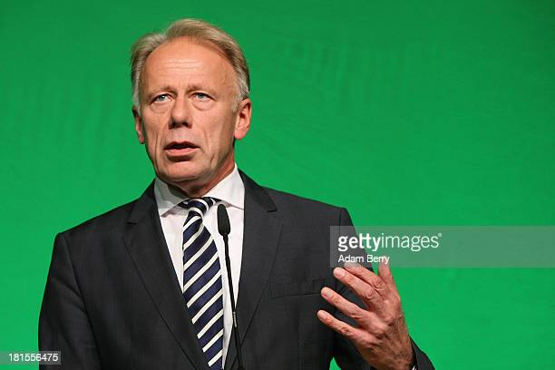 Juergen Trittin, co-lead candidate of the German Green Party , speaks after the announcement of initial exit poll results that give the party 8% of...