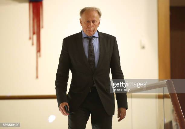 Juergen Trittin of the German Greens Party attends preliminary coalition talks at the BadenWuerttemberg state representation on November 19 2017 in...
