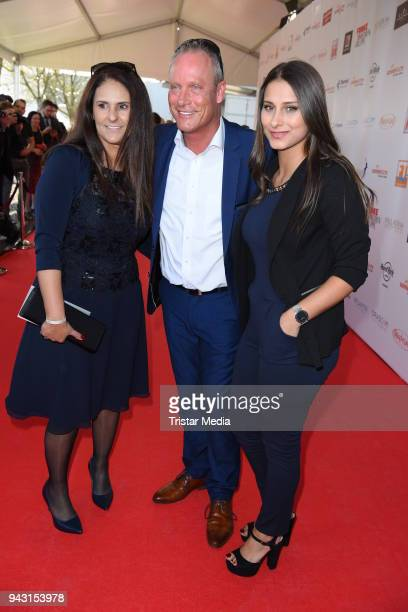 Juergen Trovato his wife Marta Trovato and their daughter Sharon Trovato attend the 'Goldene Sonne 2018' Award by SonnenklarTV on April 7 2018 in...