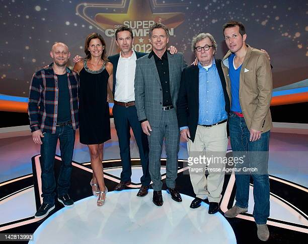 Juergen Vogel, Kathrin Mueller-Hohenstein, Dirk Steffens, Joerg Pilawa, Helmut Karasek and Willi Weitzel attend the presentation of the ZDF...