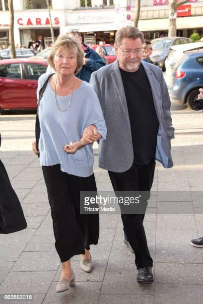 Juergen von der Lippe and his wife Anne Dohrenkamp attend the 'Aufguss' Premiere at Theatre Kurfuerstendamm on April 2, 2017 in Berlin, Germany.