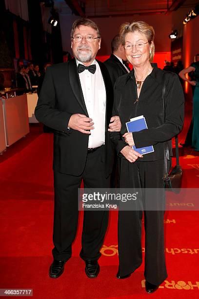 Juergen von der Lippe and his wife Anne Dohrenkamp attend the Goldene Kamera 2014 at Tempelhof Airport on February 01, 2014 in Berlin, Germany.