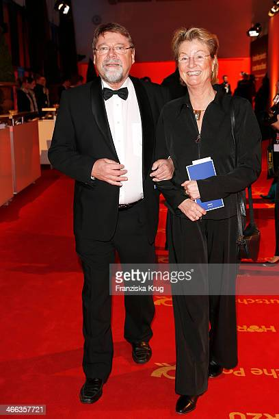 Juergen von der Lippe and his wife Anne Dohrenkamp attend the Goldene Kamera 2014 at Tempelhof Airport on February 01 2014 in Berlin Germany