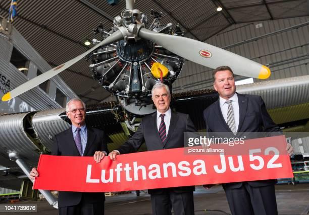 Juergen Weber a former Lufthansa manager Frank Horch transport senator in Hamburg and Werner Knorr head of the German Lufthansa Berlin Foundation in...