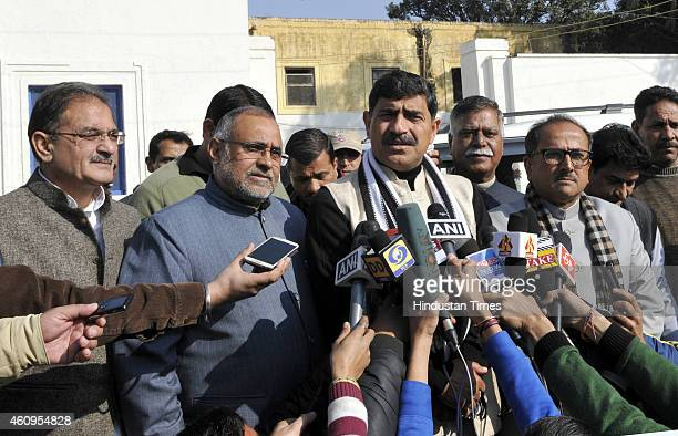 Jugal Kishore Sharma along with JK State in charge Avinash Rai Khanna and other senior BJP leaders addressing media after meeting with JK Governor NN...
