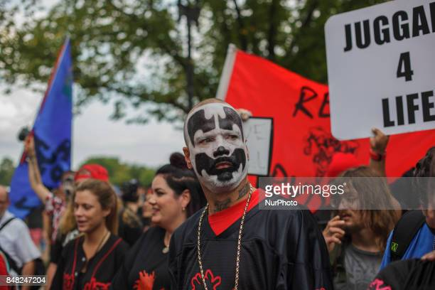 Juggalos fans of the music group Insane Clown Posse gather while demonstrating on the National Mall in Washington DC US on Saturday Sept 16 2017 The...