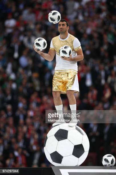 A juggler performs at the opening ceremony prior to the 2018 FIFA World Cup Russia group A match between Russia and Saudi Arabia at Luzhniki Stadium...