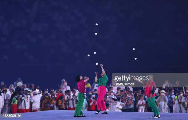 Jugglers during the Closing Ceremony of the Tokyo 2020 Olympic Games at Olympic Stadium on August 08, 2021 in Tokyo, Japan.