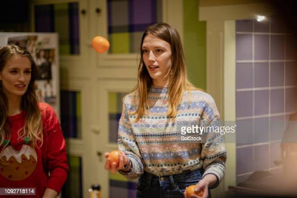 Juggling Oranges at a Christmas House Party