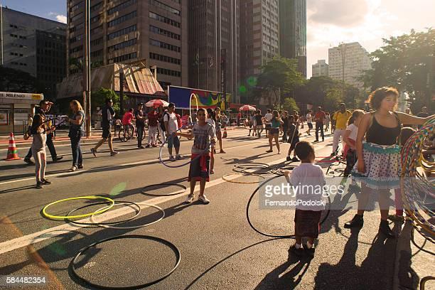 Juggling with hula hoop