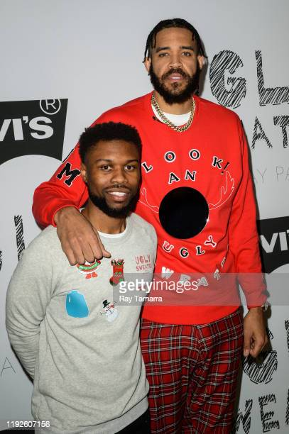 Juglife Foundation founding partners Kez Reed and JaVale McGee attend the 2nd Annual Juglife Ugly Sweater Holiday Party at Levi's Haus on December 07...
