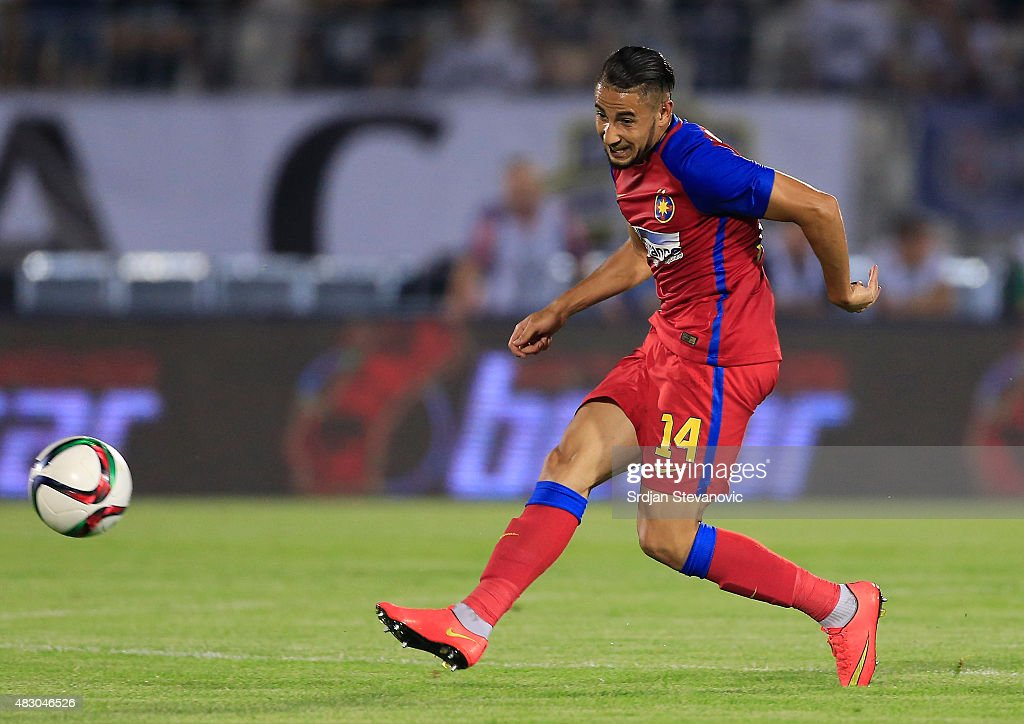 BELGRADE, SERBIA - AUGUST 05. Jugurtha Hamroun of FC Steaua Bucharest in action during the UEFA Champions League Third Qualifying Round Second Leg match between FC Partizan Belgrade and FC Steaua Bucharest at FC Partizan stadium in Belgrade, Serbia on Wednesday, August 05, 2015.