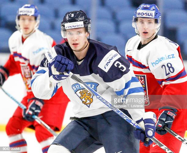 Juha Jääskä of Finland skates against Czech Republic during the first period of play in the IIHF World Junior Championships Quarterfinal game at the...