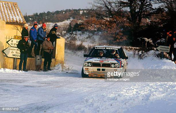 Juha Kankkunen in Lancia Delta HF during 1987 Monte Carlo Rally. He finished 2nd overall. Artist Unknown.