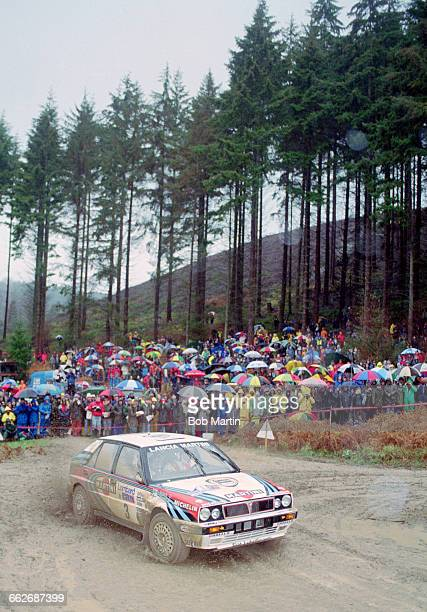 Juha Kankkunen of Finland driving the Martini Lancia Delta HF Integrale 16v during the FIA World Rally Championship 46th Lombard RAC Rally on 26...