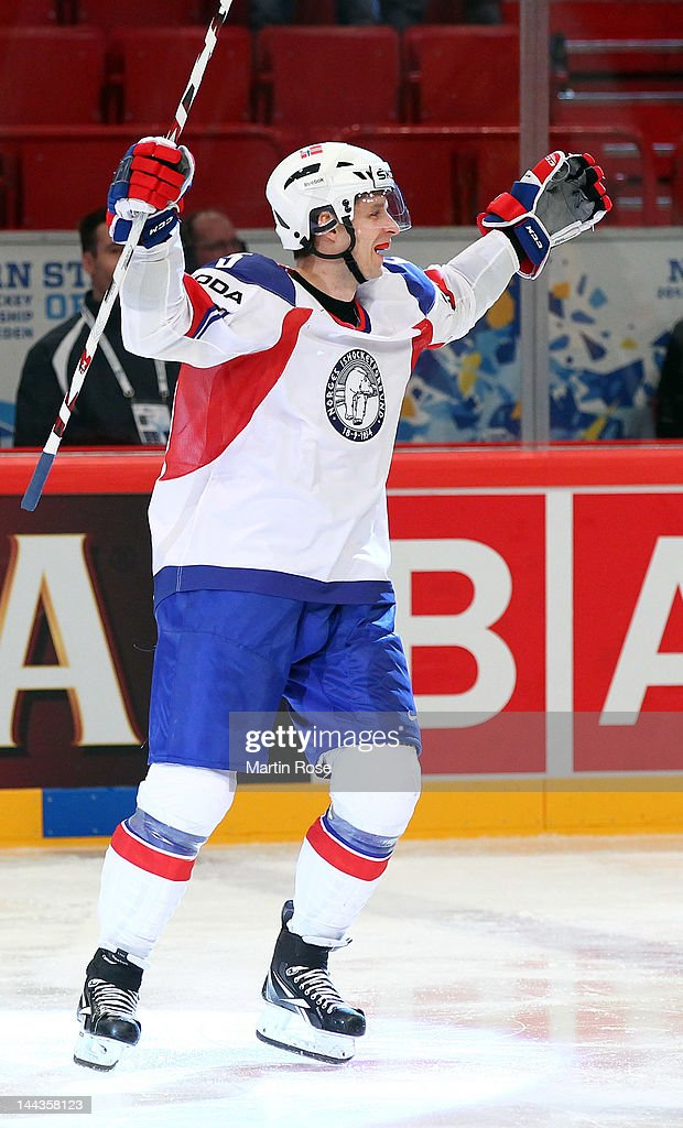 Juha Kaunismaki of Norway celebrate during the IIHF World Championship group S match between Germany and Norway at Ericsson Globe on May 13, 2012 in Stockholm, Sweden.