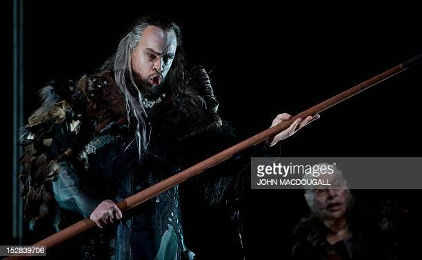 Juha Uusitalo as the Wanderer and Peter Bronder as Mime perform during a dress rehearsal of Richard Wagner's opera Siegfried at Berlin's Staatsoper...