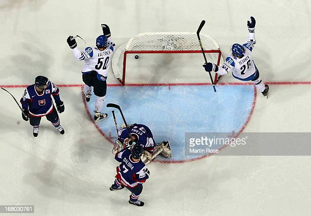 Juhamatti Aaltonen of Finland celebrates after he scores his team's opening goal during the IIHF World Championship group H match between Finland and...