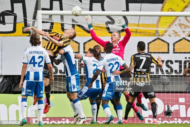 Juhani Ojala of BK Hacken going up for a header but Pontus Dahlberg goalkeeper of IFK Goteborg stops him during the Allsvenskan match between IFK...
