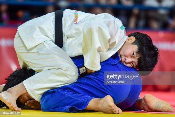 Juhee Kim of Korea competes for Bronze with Nicole Pencue of Colombia in Judo Womens 63 Kg during day 2 of Buenos Aires 2018 Youth Olympic Games at...
