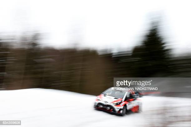 TOPSHOT Juho Hanninen of Finland and his codriver Kaj Lindstrom steer their Toyota Yaris WRC during the Shakedown of the Rally Sweden second round of...