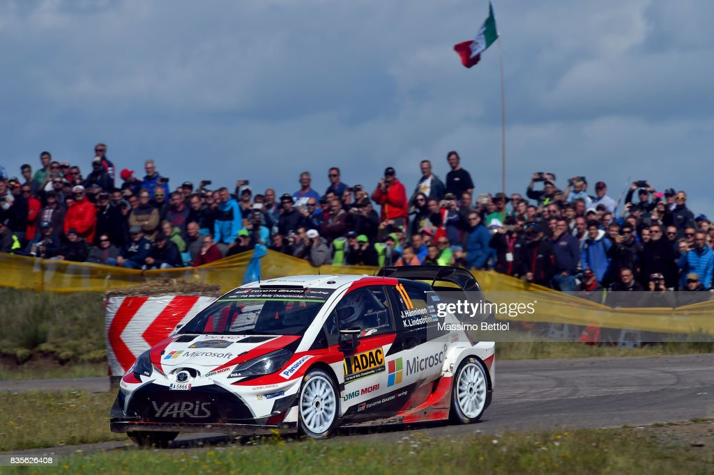 Juho Hanninen of Finland and Kaj Lindstrom of Finland compete in their Toyota Gazoo Racing WRT Toyota Yaris WRC during Day Two of the WRC Germany on August 19, 2017 in Trier, Germany.