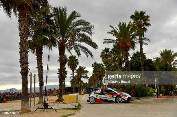 Juho Hanninen of Finland and Kaj Lindstrom of Finland compete in their Totota Gazoo Racing WRT Toyota Yaris WRC during Day Two of the WRC Spain on...
