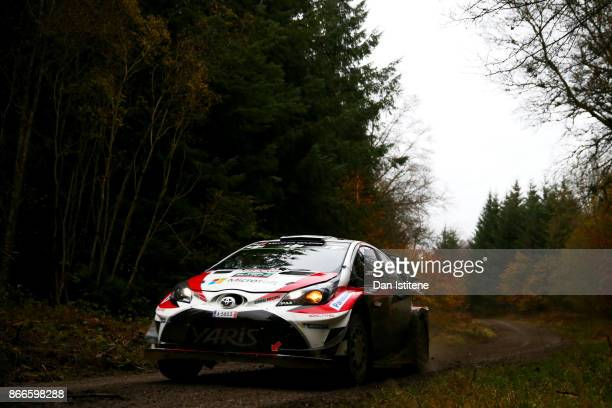 Juho Hanninen of Finland and Toyota Gazoo Racing WRT drives with codriver Kaj Lindstrom of Finland during Shakedown for the FIA World Rally...