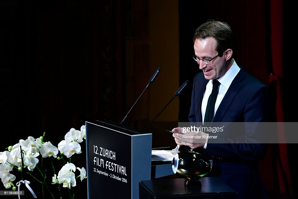 Juho Kuosmanen gives his acceptance speech after receiving the award for international movie for his movie 'The Happiest Day In the Life Of Olli Maeki' on stage during the Award Night Ceremony during the 12th Zurich Film Festival on October 1, 2016 in Zurich, Switzerland. The Zurich Film Festival 2016 will take place from September 22 until October 2.