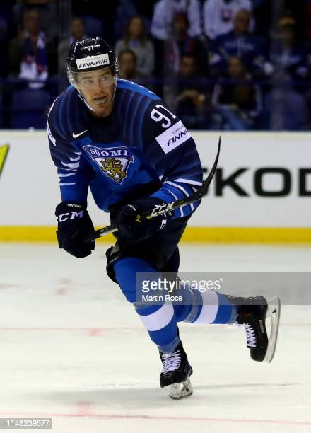Juho Lammikko of Finland Skates against Canada during the 2019 IIHF Ice Hockey World Championship Slovakia group A game between Finland and Canada at...