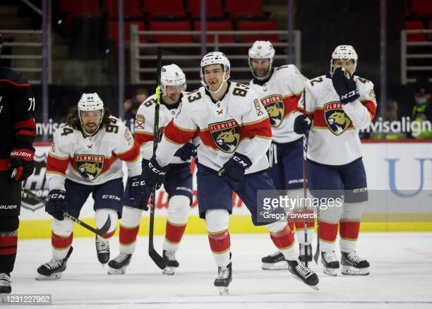 Juho Lammikko of the Florida Panthers celebrates his goal with teammates during an NHL game against the Carolina Hurricanes on February 17, 2021 at...