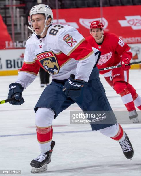 Juho Lammikko of the Florida Panthers follows the play against the Detroit Red Wings during an NHL game at Little Caesars Arena on January 31, 2021...