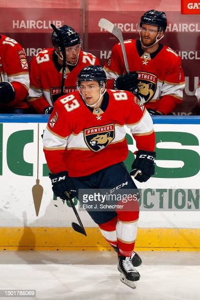 Juho Lammikko of the Florida Panthers jumps in for a shift against the Tampa Bay Lightning at the BB&T Center on February 11, 2021 in Sunrise,...