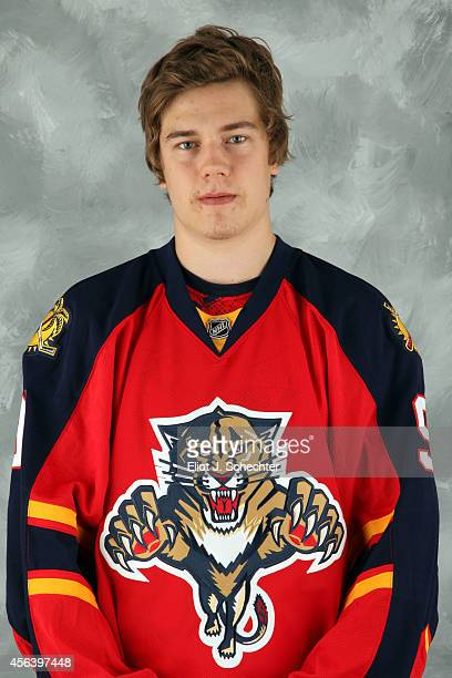 Juho Lammikko of the Florida Panthers poses for his official headshot for the 2014-2015 season on September 18, 2014 at the BB&T Center in Sunrise,...