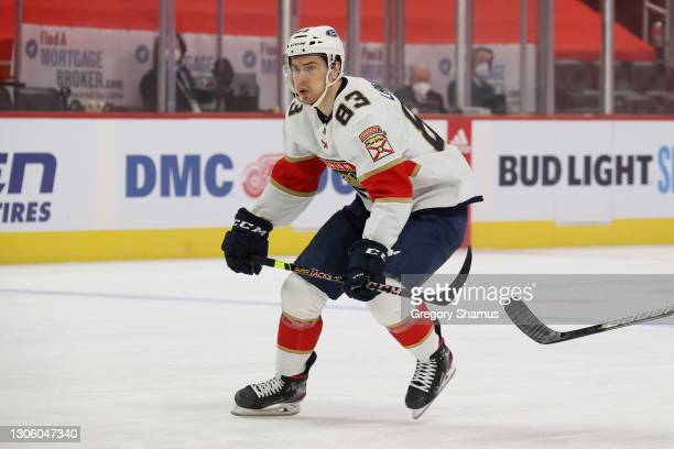 Juho Lammikko of the Florida Panthers skates against the Detroit Red Wings at Little Caesars Arena on February 19, 2021 in Detroit, Michigan.