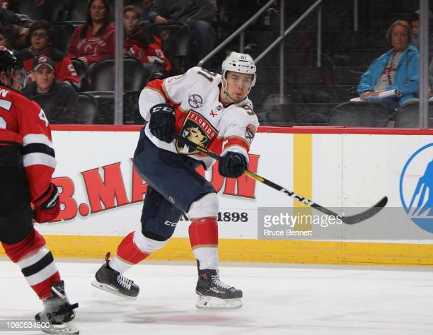 Juho Lammikko of the Florida Panthers skates against the New Jersey Devils at the Prudential Center on October 27, 2018 in Newark, New Jersey. The...