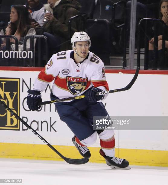 Juho Lammikko of the Florida Panthers skates against the New York Islanders at the Barclays Center on October 24, 2018 in the Brooklyn borough of New...