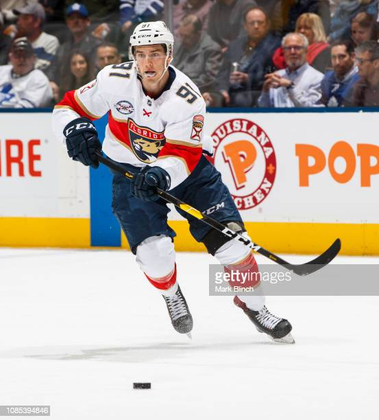 Juho Lammikko of the Florida Panthers skates against the Toronto Maple Leafs during the first period at the Scotiabank Arena on December 20, 2018 in...