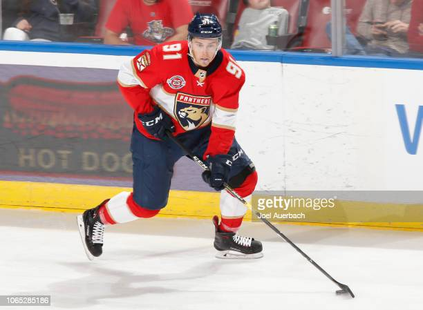 Juho Lammikko of the Florida Panthers skates with the puck against the Edmonton Oilers at the BB&T Center on November 8, 2018 in Sunrise, Florida....