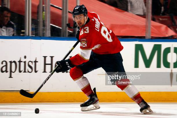 Juho Lammikko of the Florida Panthers skates with the puck against the Columbus Blue Jackets at the BB&T Center on April 19, 2021 in Sunrise, Florida.