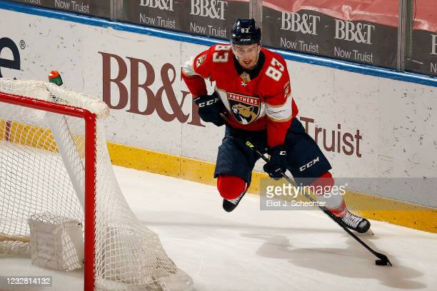 Juho Lammikko of the Florida Panthers skates with the puck just before scoring during the second period against the Tampa Bay Lightning at the BB&T...