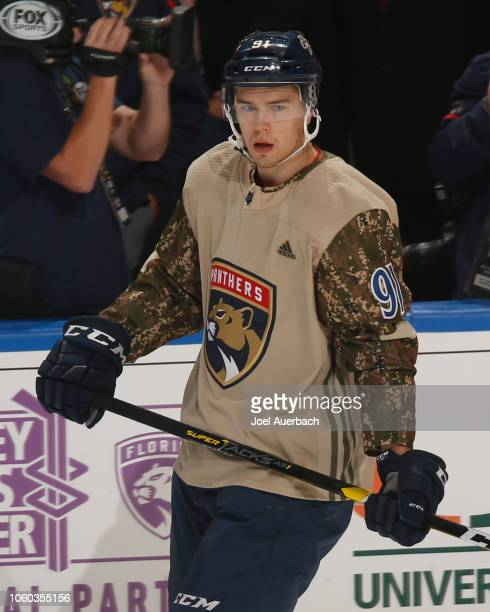 Juho Lammikko of the Florida Panthers warms up prior to the game against the Ottawa Senators at the BB&T Center on November 11, 2018 in Sunrise,...