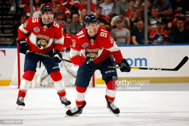 Juho Lammikko of the Panthers skates for position against the Edmonton Oilers at the BB&T Center on November 8, 2018 in Sunrise, Florida.